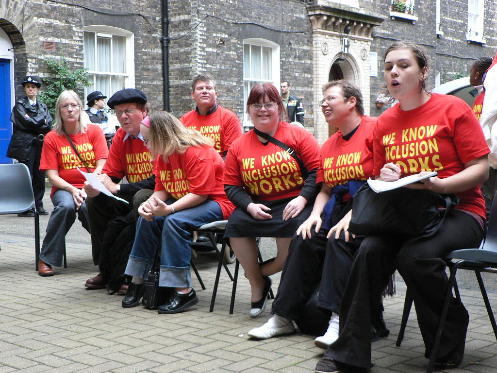 "Group of ALLFIE supporters wearing ""We Know Inclusion Works"" tshirts"