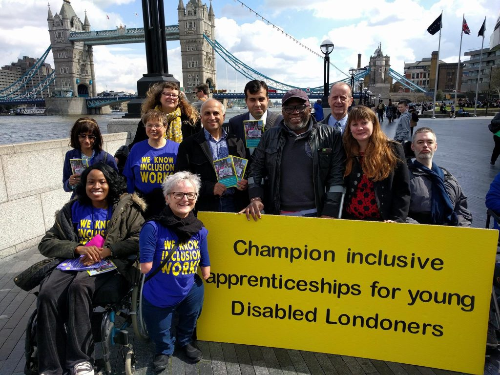 ALLFIE and others campaigning outside City Hall for inclusive apprenticeships