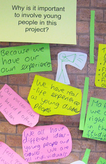 Post it notes with young people's thoughts about why they should be included in a project