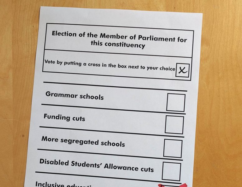 Cover of Inclusion Now 47: general election special showing a fictitious ballot paper offering the choices of grammar schools, funding cuts, more segregated schools, Disabled Students' Allowance cuts and inclusive education. Inclusive education has a cross against it.