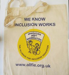 "cotton shopping bag with ALLFIE logo and website address and the words ""we know inclusion works"""