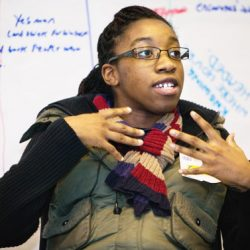 young disabled woman speaking