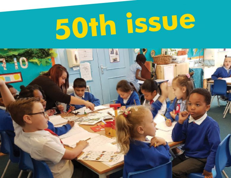 Inclusion Now 50 cover. Classroom scene with the words 50th issue superimposed