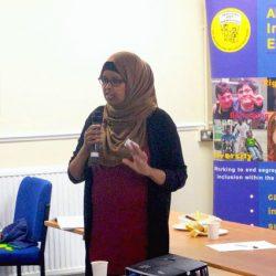 Warda Mohamed speaking at ALLFIE's AGM