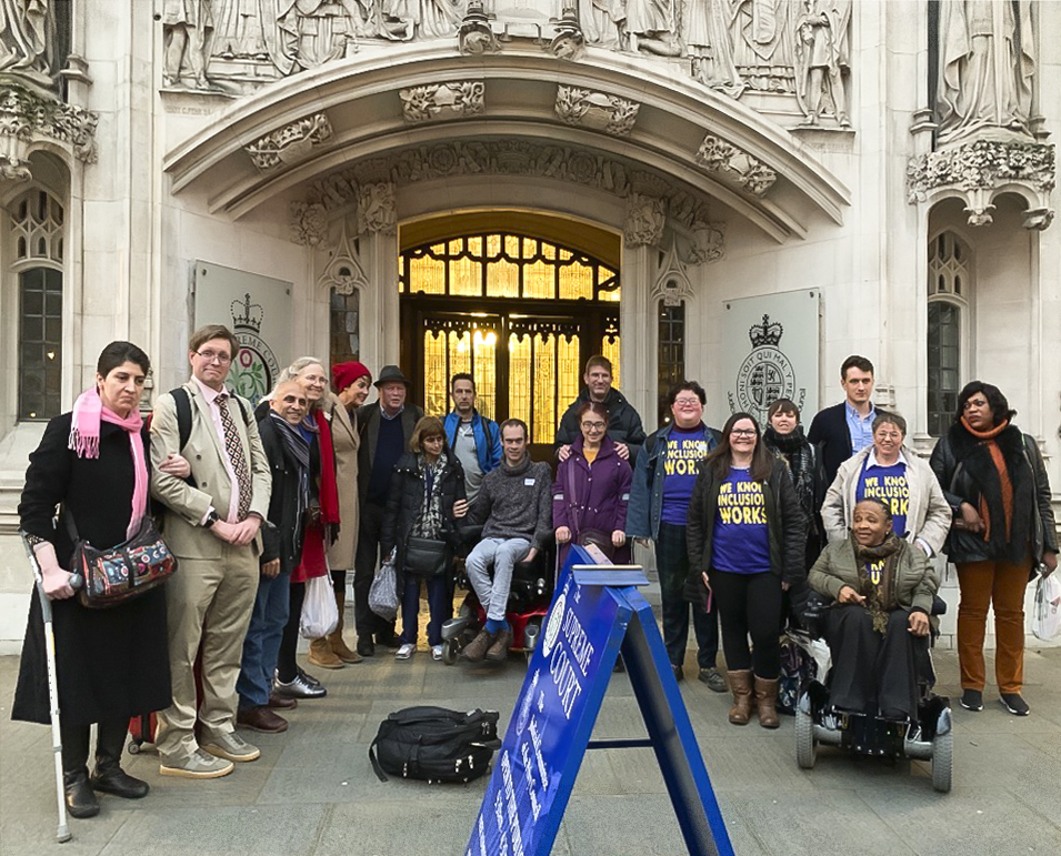 ALLFIE and supporters outside the Supreme Court, Westminster