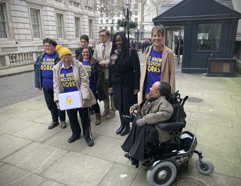 ALLFIE representatives enter Downing Street with 108,000 signature petition