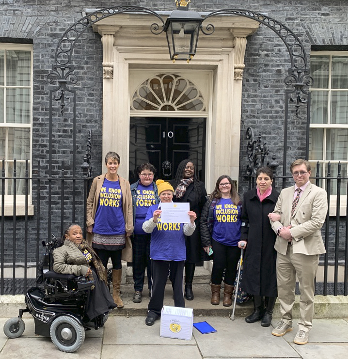 ALLFIE delegation at 10 Downing Street: Michelle Daley, Lucy Bartley, Martine Harding, Simone Aspis, Marsha Cordova MP, Hilra Vinha, Armineh Soorenian