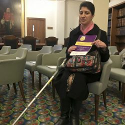 ALLFIE Researcher and Accessibility Plans report author, Dr Armineh Soorenian with the report