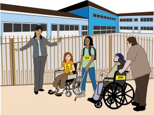 Graphic illustrating Disabled pupils being stopped from entering mainstream school