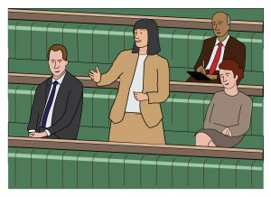 Graphic illustrating MPs debating in the House of Commons Chamber