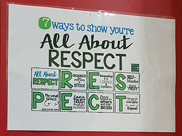 Poster showing Malta's Dingli School Ethos: All About Respect