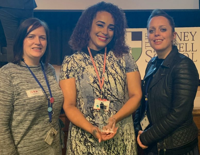 Brimsdown Primary School: Dani Lang Headteacher; Alysha Allen Y2 teacher & award (left to right)