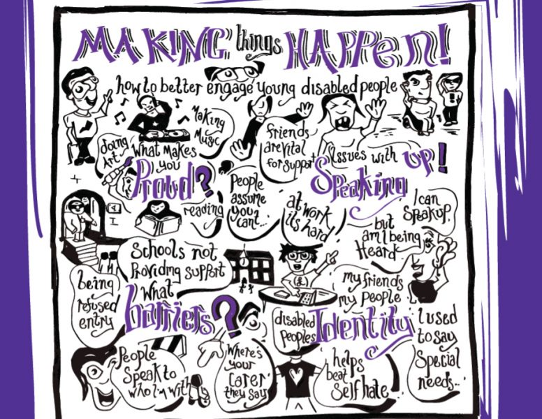 Making Things Happen Project Report cover with graphic showing topics for engaging Young Disabled people including: Speaking Up; Pride; Barriers; Identity