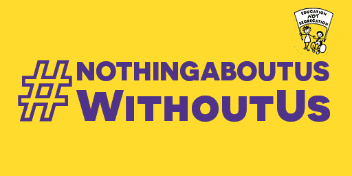 Graphic banner with the hashtag: # Nothing About Us Without Us