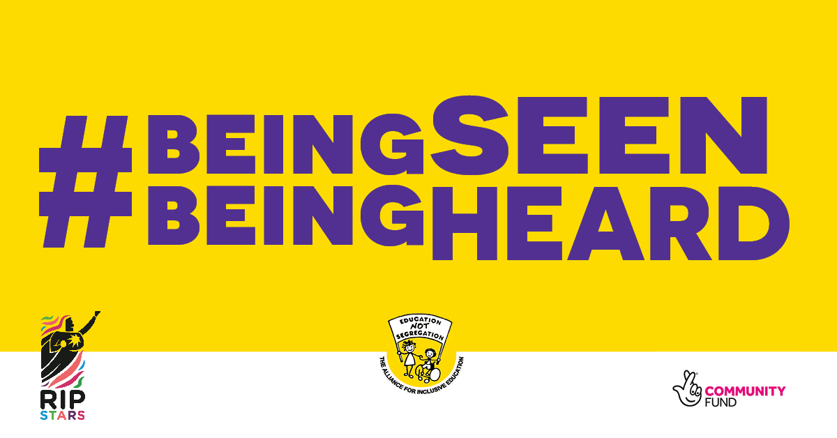 Graphic banner with text: #beingseenbeingheard alongside RIPSTARS; ALLFIE and National Lottery Community Fund logo. Purple text on yellow background