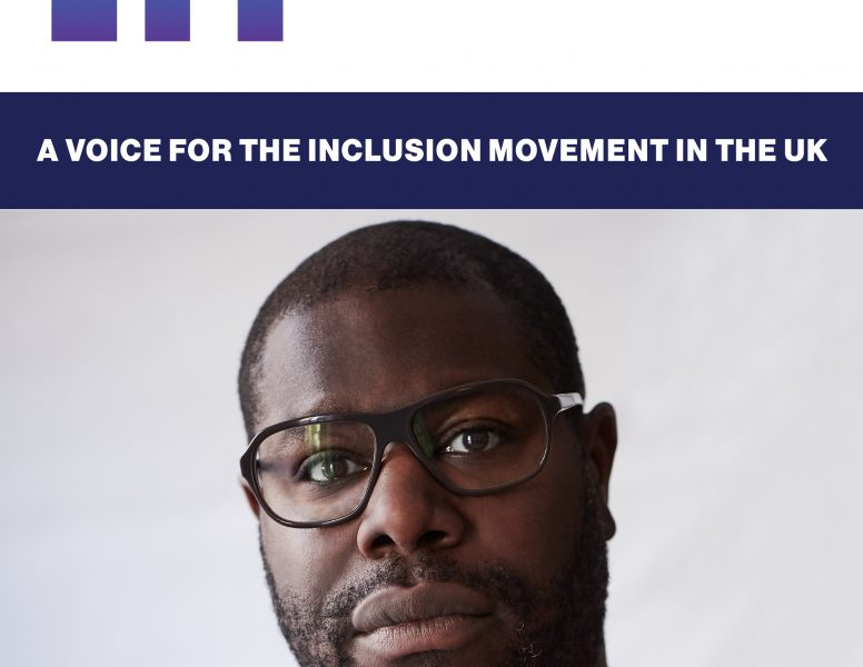 """Portrait of Sir Steve McQueen, by John Russo. A head and shoulders shot, he is wearing glasses and staring directly into the camera lens, with a serious expression, alongside his article quote: """"We want meaningful change - so let's get on with it."""" Credit: John Russo"""