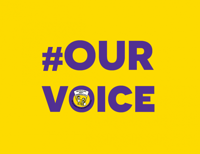 Decorative graphic image with the hashtag #OurVoice in purple text on and yellow background with the ALLFIE log' and a link to project webpage at url: https://www.allfie.org.uk/about-us/who-we-work-with/our-voice-project/